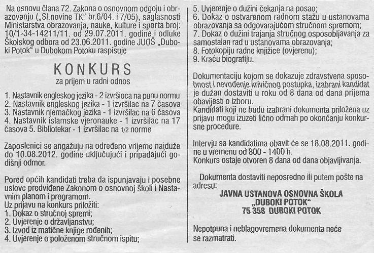 Konkurs za posao u OS Duboki Potok