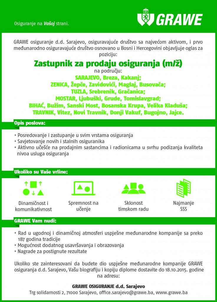 Oglas za posao Zastupnik za prodaju osiguranja oktobar 2015