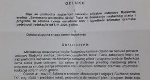 Odobren Nastavni plan i program Savremeno – umjetničke škole Tuzla